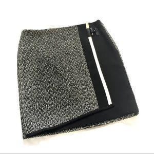 WHBM tweed Asymmetrical front buckle skirt